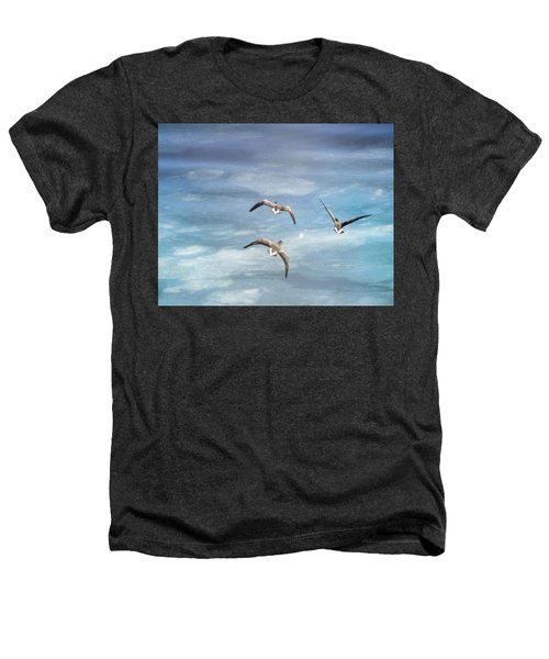 Loons Over Ice - Three Heathers T-Shirt by Vicki Jauron