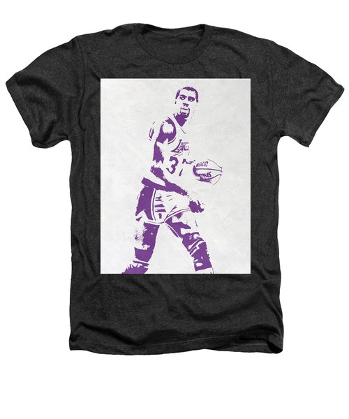 Magic Johnson Los Angeles Lakers Pixel Art Heathers T-Shirt by Joe Hamilton
