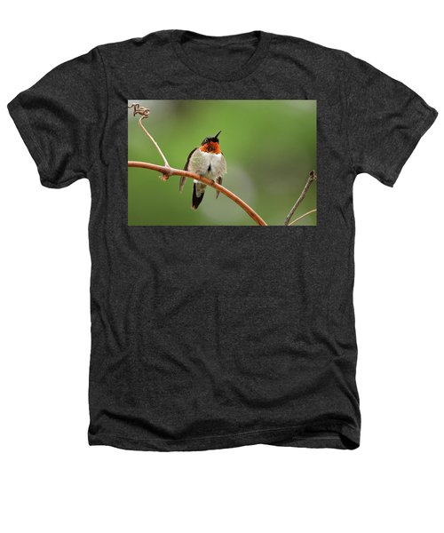 Male Ruby Throated Hummingbird Heathers T-Shirt
