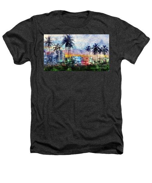 Miami Beach Watercolor Heathers T-Shirt by Jon Neidert