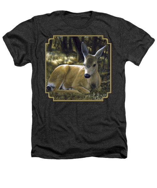 Mule Deer Fawn - A Quiet Place Heathers T-Shirt by Crista Forest