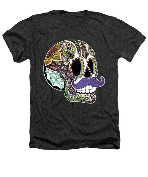 Mustache Sugar Skull Heathers T-Shirt