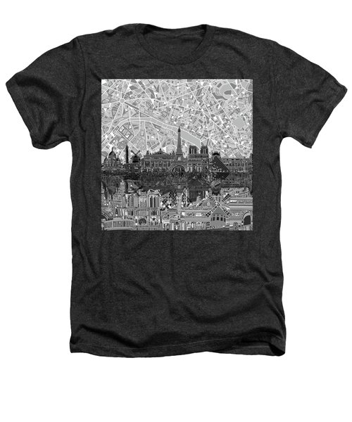 Paris Skyline Black And White Heathers T-Shirt