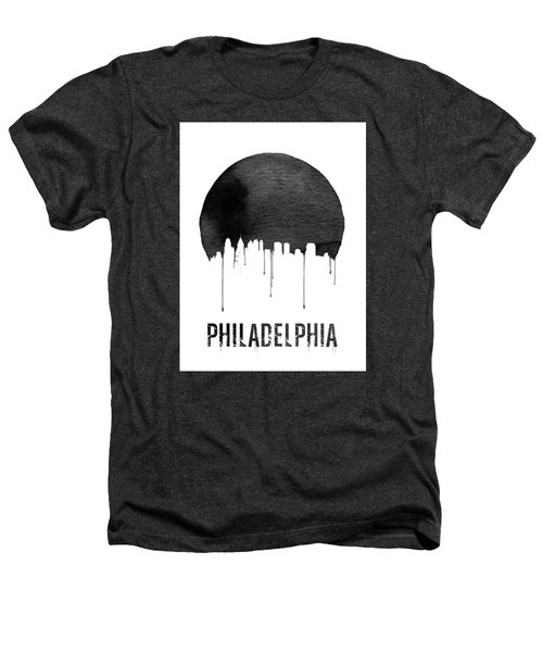 Philadelphia Skyline White Heathers T-Shirt by Naxart Studio