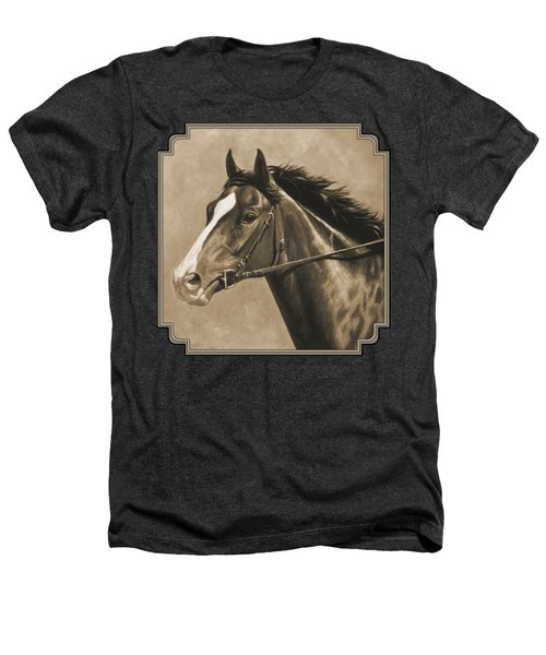 Racehorse Painting In Sepia Heathers T-Shirt by Crista Forest