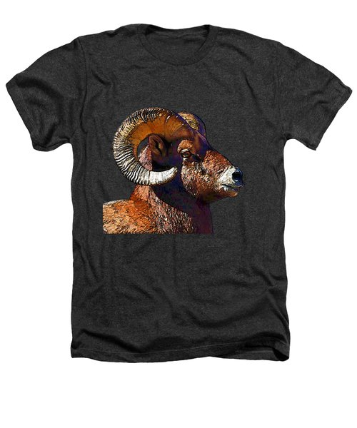 Ram Portrait - Rocky Mountain Bighorn Sheep  Heathers T-Shirt by Lena  Owens OLena Art