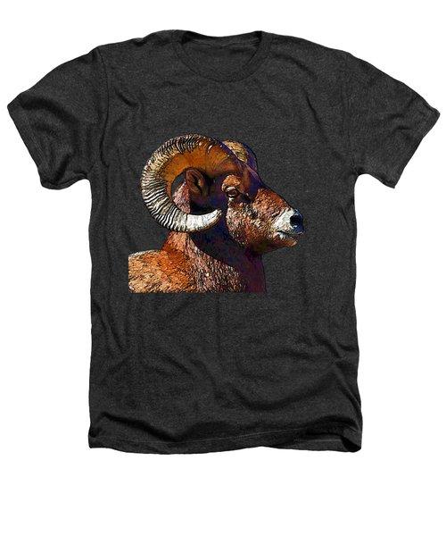 Ram Portrait - Rocky Mountain Bighorn Sheep  Heathers T-Shirt