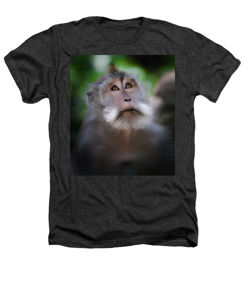 Sacred Monkey Forest Sanctuary Heathers T-Shirt by Larry Marshall
