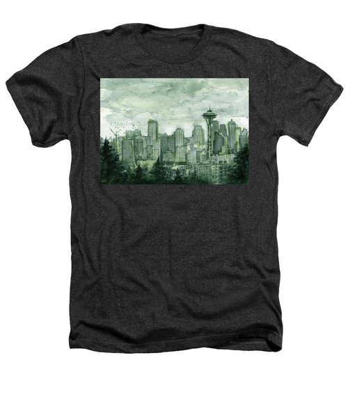 Seattle Skyline Watercolor Space Needle Heathers T-Shirt by Olga Shvartsur