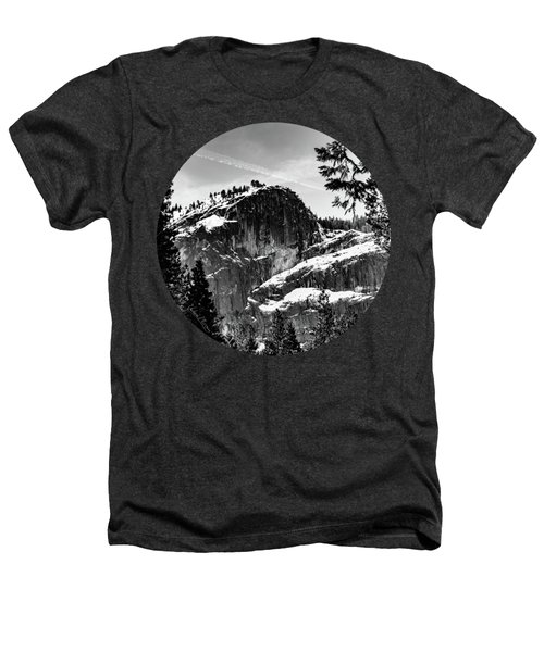 Snowy Sentinel, Black And White Heathers T-Shirt