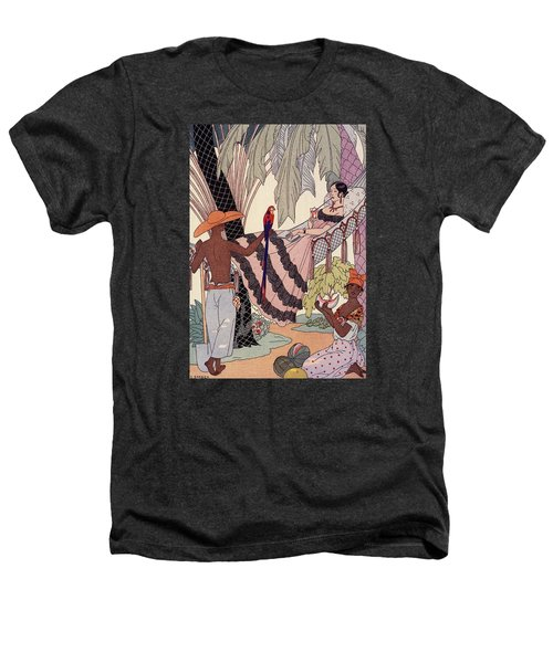 Spanish Lady In Hammock With Parrot Heathers T-Shirt by Georges Barbier