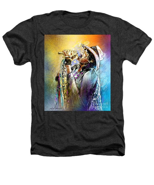 Steven Tyler 01  Aerosmith Heathers T-Shirt by Miki De Goodaboom