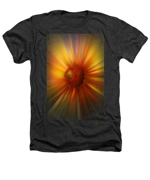 Sunflower Dawn Zoom Heathers T-Shirt by Debra and Dave Vanderlaan
