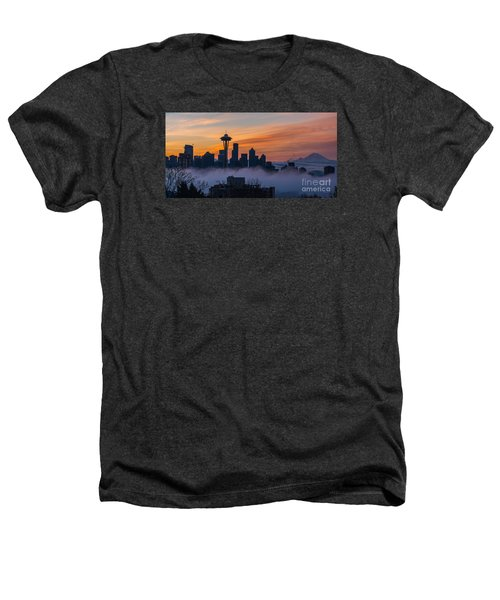 Sunrise Seattle Skyline Above The Fog Heathers T-Shirt by Mike Reid