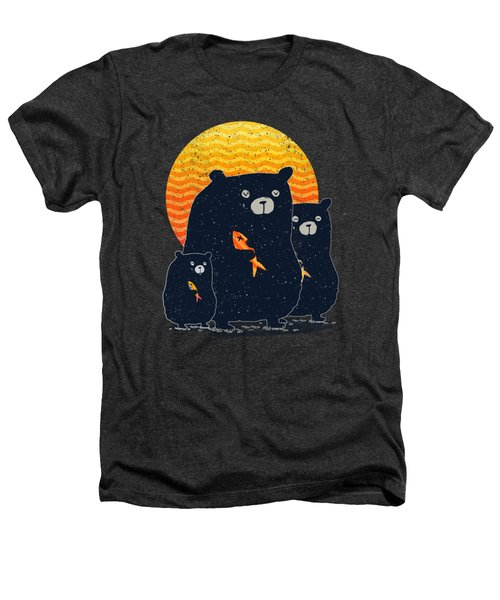 Sunset Bear Family Heathers T-Shirt by Illustratorial Pulse
