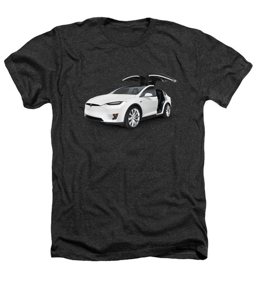 Tesla Model X Luxury Suv Electric Car With Open Falcon-wing Doors Art Photo Print Heathers T-Shirt by Oleksiy Maksymenko