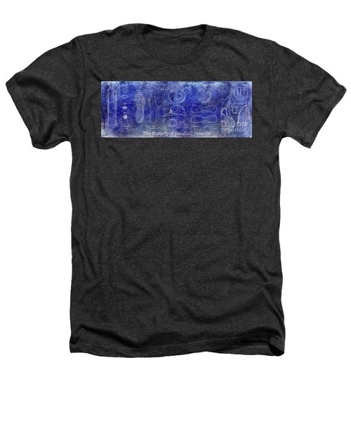 The History Of Baseball Patents Blue Heathers T-Shirt by Jon Neidert