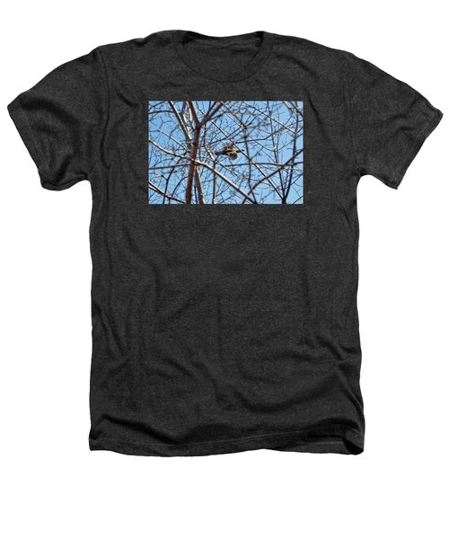 The Ruffed Grouse Flying Through Trees And Branches Heathers T-Shirt by Asbed Iskedjian
