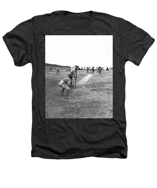 Troops Playing Cricket Heathers T-Shirt by Underwood Archives