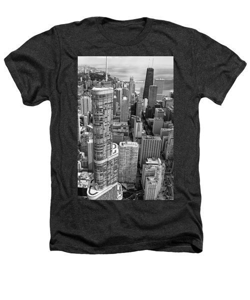 Trump Tower And John Hancock Aerial Black And White Heathers T-Shirt by Adam Romanowicz