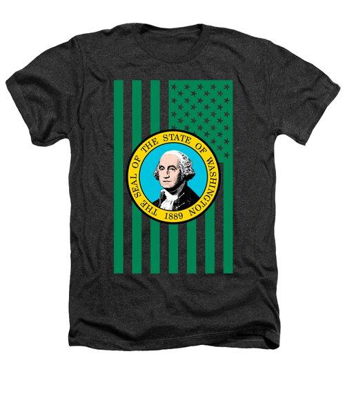 Washington State Flag Graphic Usa Styling Heathers T-Shirt by Garaga Designs