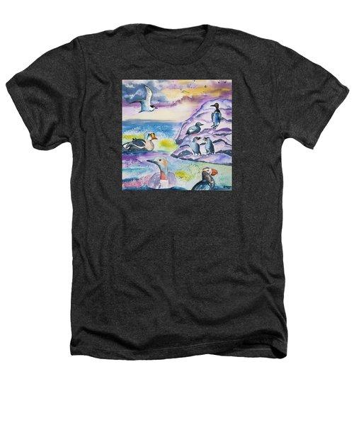 Watercolor - Alaska Seabird Gathering Heathers T-Shirt