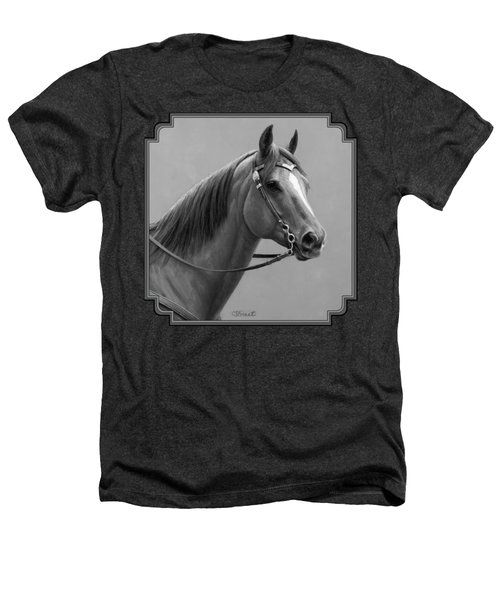 Western Quarter Horse Black And White Heathers T-Shirt by Crista Forest