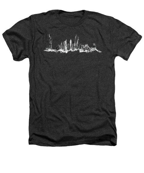 White New York Skyline Heathers T-Shirt by Aloke Creative Store