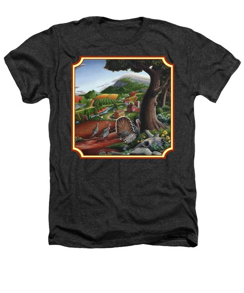 Wild Turkeys In The Hills Country Landscape - Square Format Heathers T-Shirt by Walt Curlee