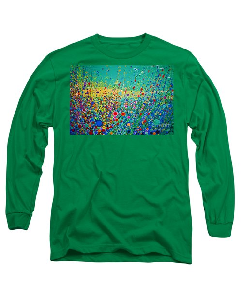 Long Sleeve T-Shirt featuring the painting  Colorful Flowerscape by Maja Sokolowska