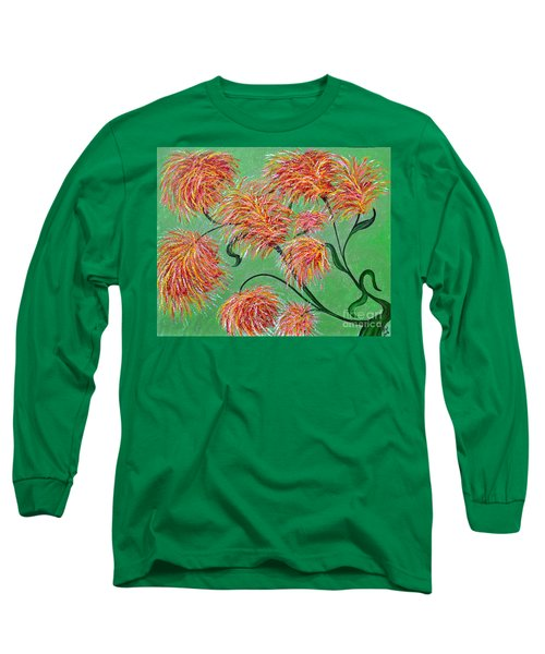 Long Sleeve T-Shirt featuring the painting Fireworks by Alys Caviness-Gober