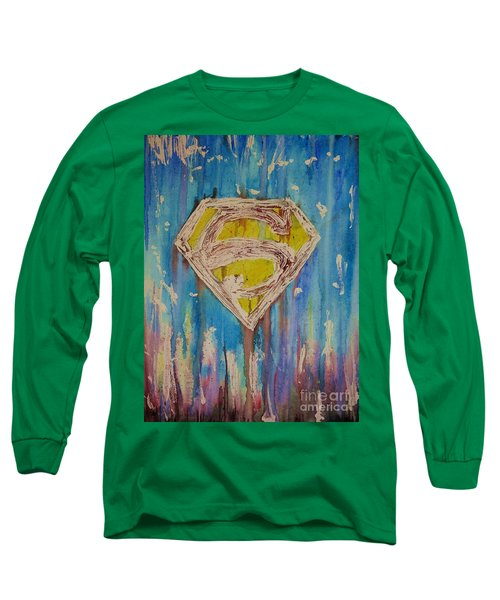Superman's Shield Long Sleeve T-Shirt by Justin Moore
