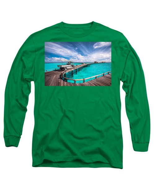 Baggy On The Jetty Over The Blue Lagoon Long Sleeve T-Shirt