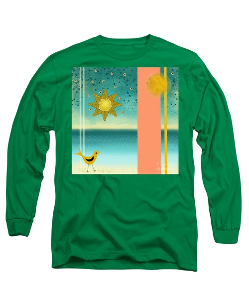Long Sleeve T-Shirt featuring the painting Beach Bird by Carol Jacobs