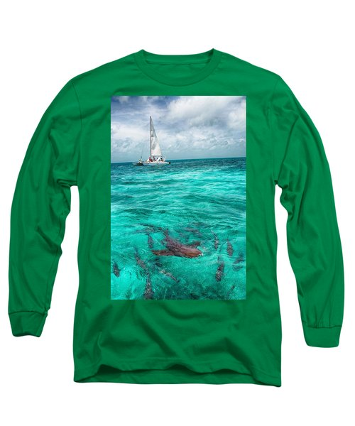 Belize Turquoise Shark N Sail  Long Sleeve T-Shirt