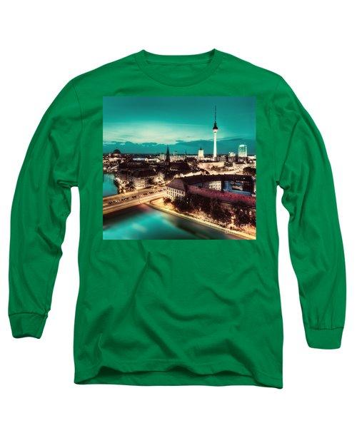 Berlin Germany Major Landmarks At Night Long Sleeve T-Shirt