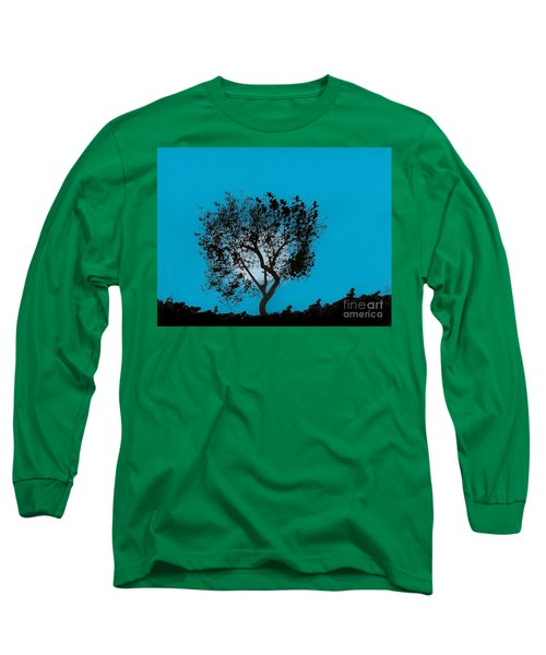 Long Sleeve T-Shirt featuring the drawing Blue Sky Moon by D Hackett