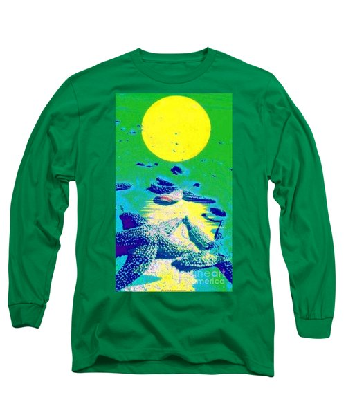 Blue Starfish Yellow Moon Long Sleeve T-Shirt by PainterArtist FIN