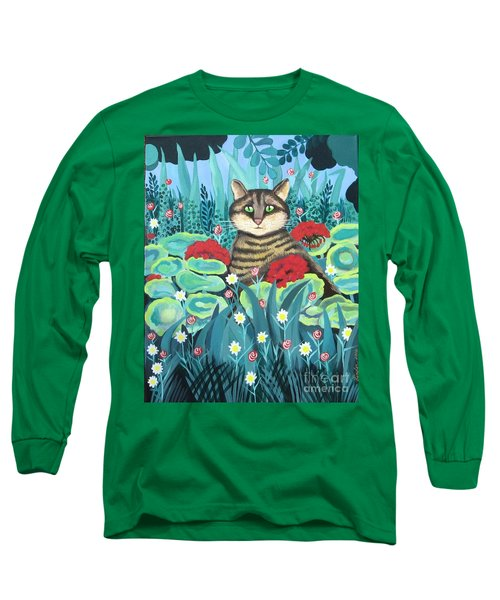 Cat Hiding In The Rainforest Long Sleeve T-Shirt
