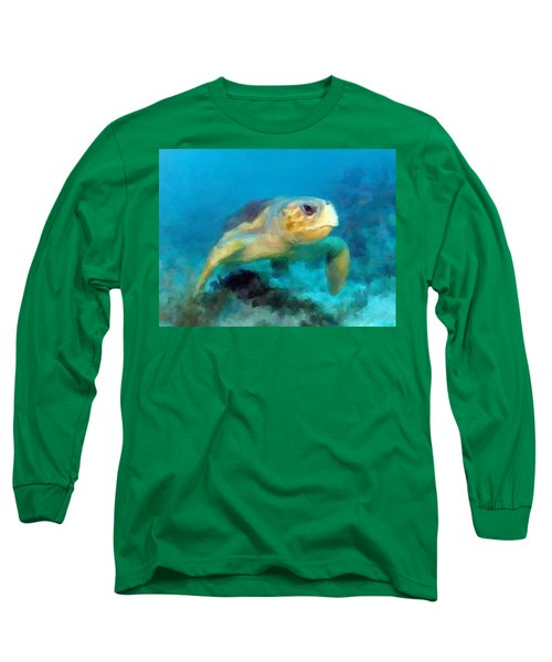 Long Sleeve T-Shirt featuring the mixed media Curious Sea Turtle by David  Van Hulst