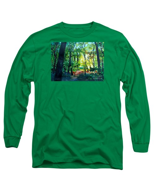 Long Sleeve T-Shirt featuring the painting Forest Scene 1 by Kathy Braud