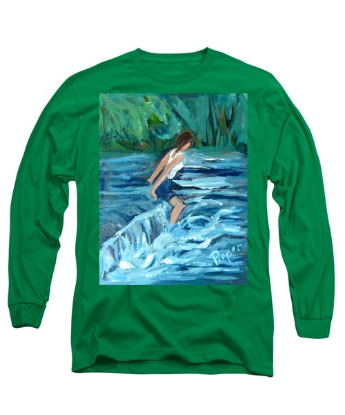 Long Sleeve T-Shirt featuring the painting Girl Bathing In River Rapids by Betty Pieper