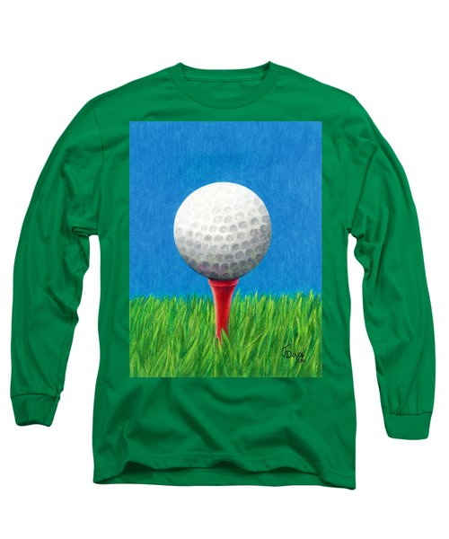 Long Sleeve T-Shirt featuring the drawing Golf Ball And Tee by Janice Dunbar