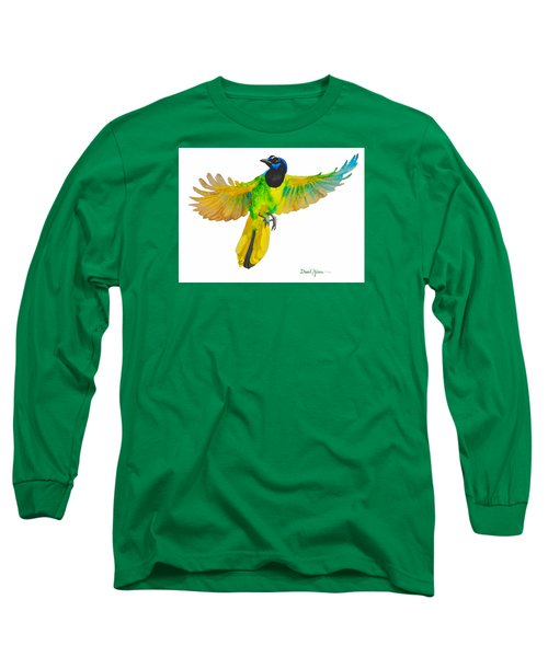 Da175 Green Jay By Daniel Adams Long Sleeve T-Shirt