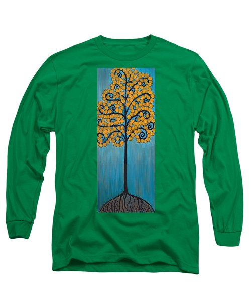 Happy Tree In Blue And Gold Long Sleeve T-Shirt