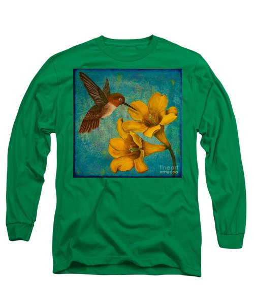 Hummingbird With Yellow Jasmine Long Sleeve T-Shirt
