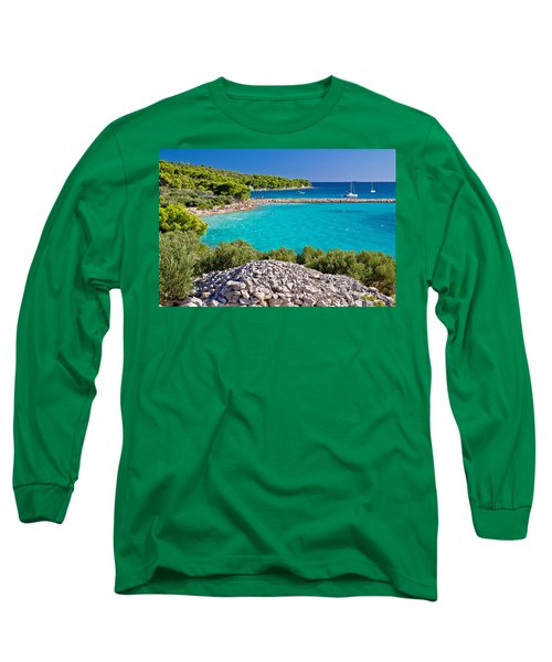 Island Murter Turquoise Lagoon Beach Long Sleeve T-Shirt by Brch Photography