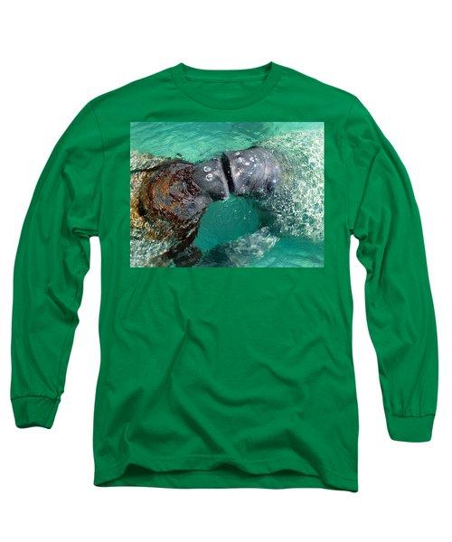 Kissing Manatees Near Harbour Island Long Sleeve T-Shirt