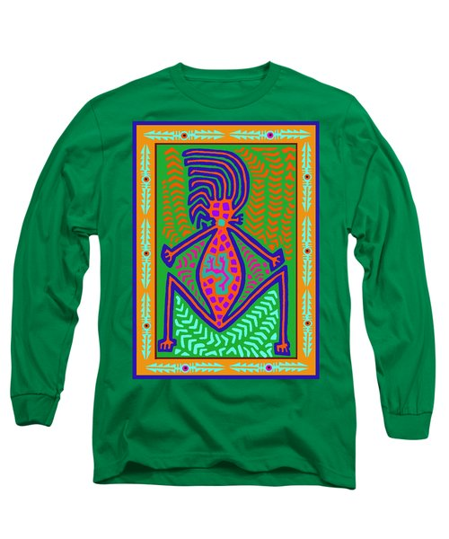 Long Sleeve T-Shirt featuring the digital art Kuna Indian Mother Earth by Vagabond Folk Art - Virginia Vivier