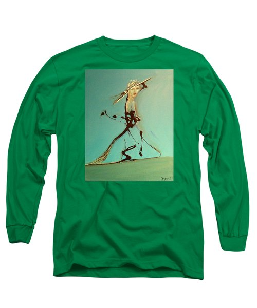 Long Sleeve T-Shirt featuring the painting Lady In The Hat by Kicking Bear  Productions